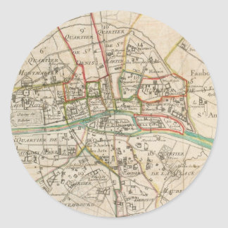 Vintage Map of Paris (1678) Classic Round Sticker