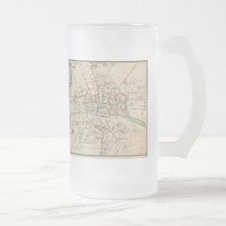 Vintage Map of Paris (1678) Frosted Glass Beer Mug
