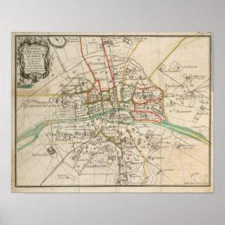 Vintage Map of Paris (1678) Poster