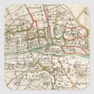 Vintage Map of Paris (1678) Square Sticker