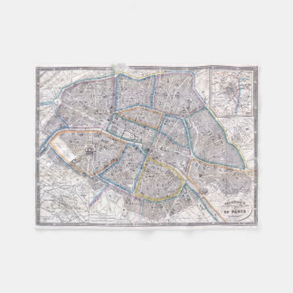 Vintage Map of Paris (1865) Fleece Blanket
