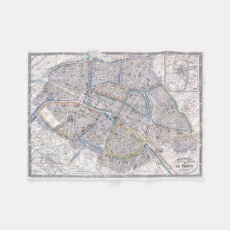Vintage Map of Paris (1865) Fleece Blanket