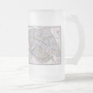 Vintage Map of Paris (1865) Frosted Glass Beer Mug