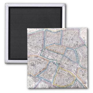 Vintage Map of Paris (1865) Magnet