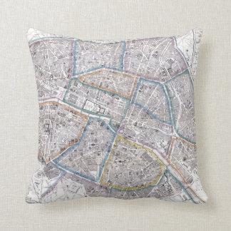 Vintage Map of Paris (1865) Pillow