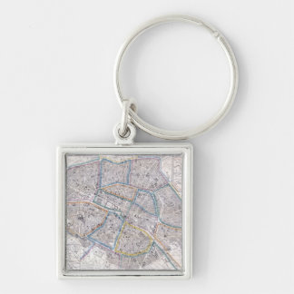 Vintage Map of Paris (1865) Silver-Colored Square Keychain