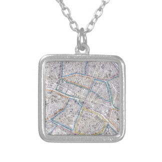 Vintage Map of Paris (1865) Square Pendant Necklace