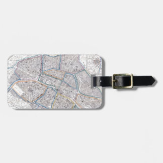 Vintage Map of Paris (1865) Tag For Luggage
