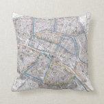 Vintage Map of Paris (1865) Throw Pillows