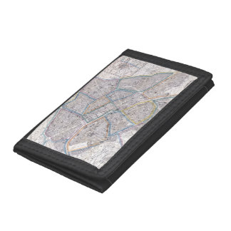 Vintage Map of Paris (1865) Trifold Wallets