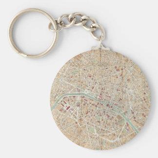 Vintage Map of Paris (1892) Basic Round Button Keychain
