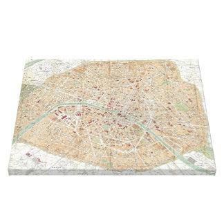 Vintage Map of Paris (1892) Canvas Print