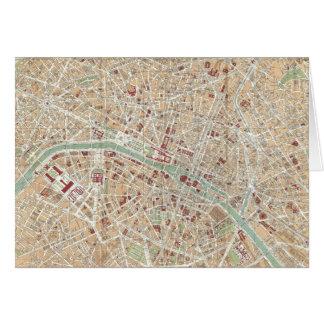 Vintage Map of Paris (1892) Card