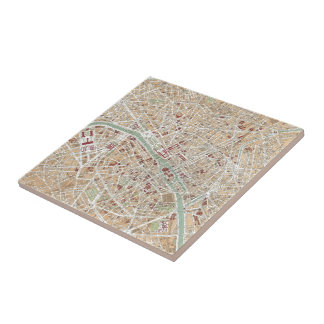 Vintage Map of Paris (1892) Ceramic Tile