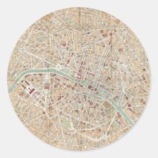 Vintage Map of Paris (1892) Classic Round Sticker
