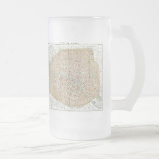 Vintage Map of Paris (1892) Frosted Glass Beer Mug