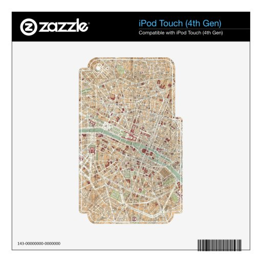 Vintage Map of Paris (1892) iPod Touch 4G Decals