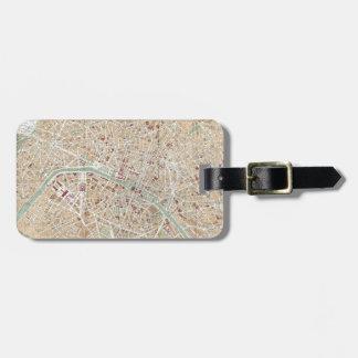 Vintage Map of Paris (1892) Luggage Tag