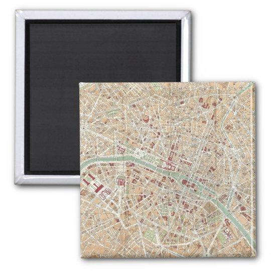 Vintage Map of Paris (1892) Magnet