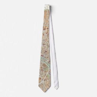 Vintage Map of Paris (1892) Neck Tie
