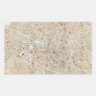 Vintage Map of Paris (1892) Rectangular Sticker