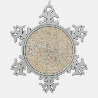 Vintage Map of Paris (1892) Snowflake Pewter Christmas Ornament