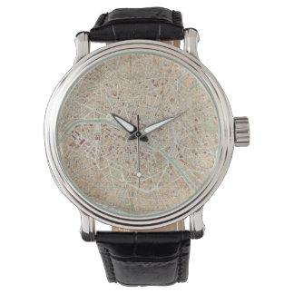 Vintage Map of Paris (1892) Wristwatches