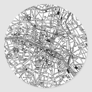 Vintage Map of Paris (1911) Classic Round Sticker