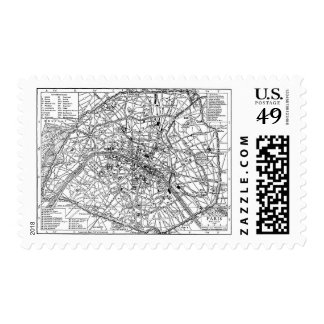 Vintage Map of Paris (1911) Postage