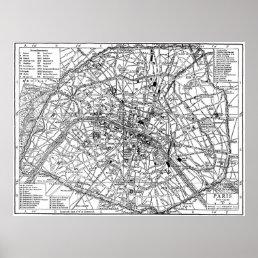 Vintage Map of Paris (1911) Poster