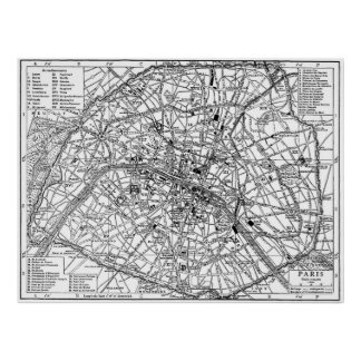 Vintage Map of Paris (1911) Poster