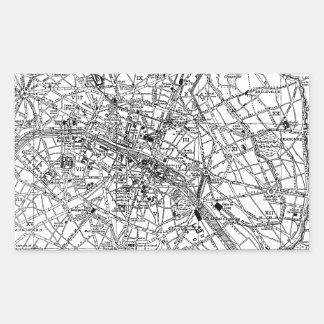 Vintage Map of Paris (1911) Rectangular Sticker