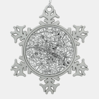 Vintage Map of Paris (1911) Snowflake Pewter Christmas Ornament