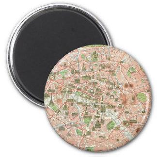 Vintage Map of Paris (1920) 2 Inch Round Magnet