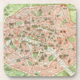 Vintage Map of Paris (1920) Beverage Coaster