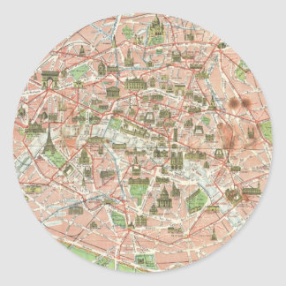 Vintage Map of Paris (1920) Classic Round Sticker
