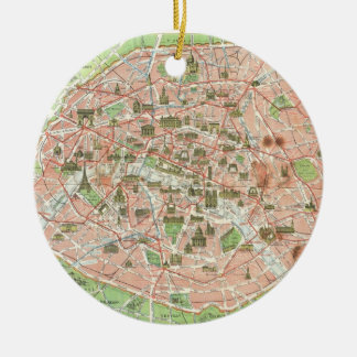 Vintage Map of Paris (1920) Double-Sided Ceramic Round Christmas Ornament