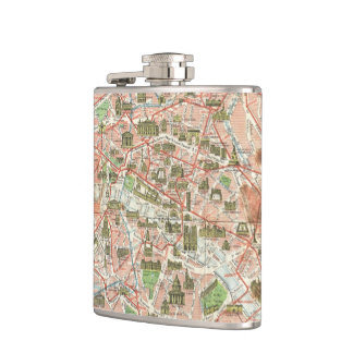 Vintage Map of Paris (1920) Flask