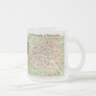 Vintage Map of Paris (1920) Frosted Glass Coffee Mug