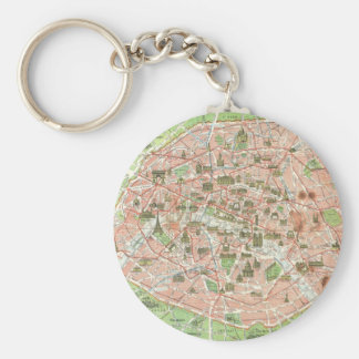 Vintage Map of Paris (1920) Keychain