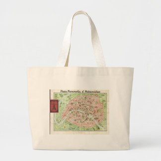 Vintage Map of Paris (1920) Large Tote Bag