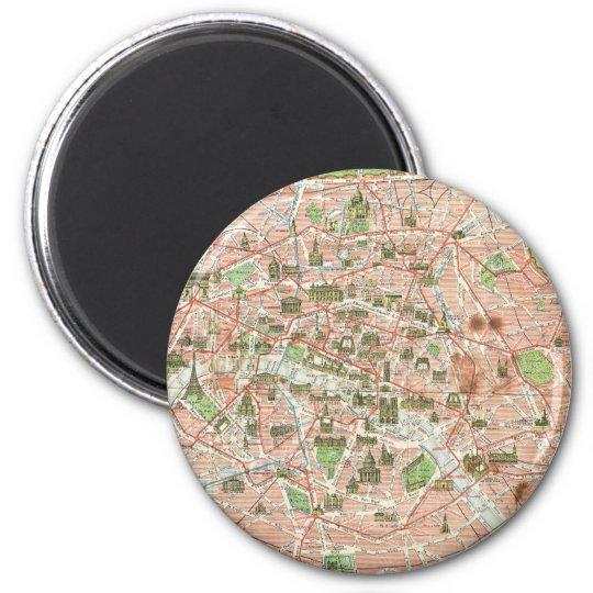 Vintage Map of Paris (1920) Magnet