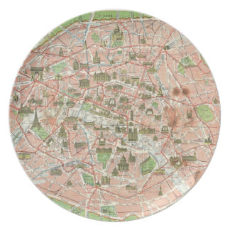 Vintage Map of Paris (1920) Melamine Plate