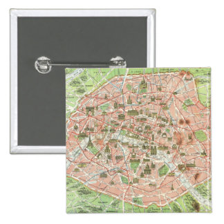 Vintage Map of Paris (1920) Pinback Button