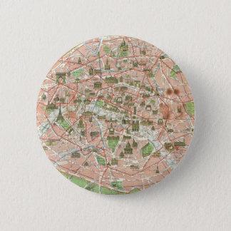 Vintage Map of Paris (1920) Pinback Button