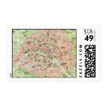 Vintage Map of Paris (1920) Postage Stamp