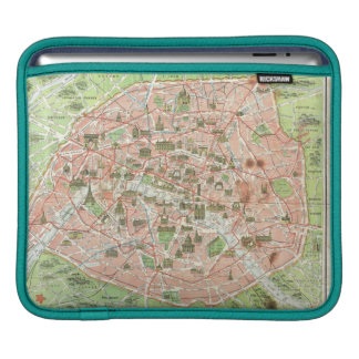 Vintage Map of Paris (1920) Sleeve For iPads