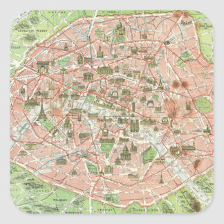 Vintage Map of Paris (1920) Square Sticker