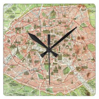 Vintage Map of Paris (1920) Square Wall Clock
