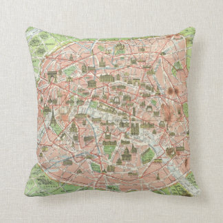 Vintage Map of Paris (1920) Throw Pillow